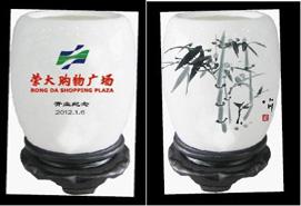 丰南商厦集团荣大购物广场开业纪念——骨质瓷国粹小笔筒