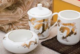 河北经贸大学大会纪念品——高档骨质瓷对杯