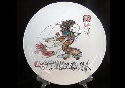 王以时原作《川剧别洞观景》布画油彩,限量骨质瓷衍生品。