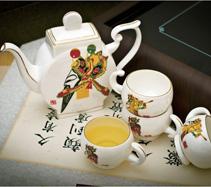 5头皮影骨质瓷茶具
