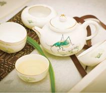 5头蟋蟀骨质瓷茶具