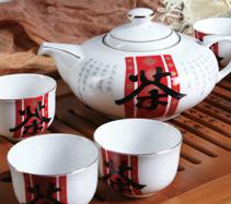 7头茶字骨质瓷茶具
