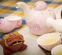5头大象手绘粉色骨质瓷茶具