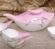 5头鹅头粉色梅花手绘骨质瓷茶具