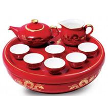9头骨质瓷中国红金龙茶海