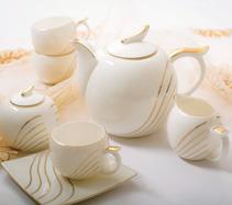 15头镶金彩条骨质瓷咖啡具