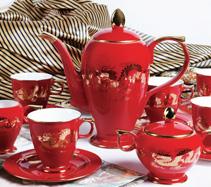 中国红金龙骨质瓷咖啡具