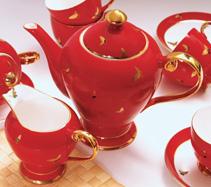 15头中国红骨质瓷咖啡具