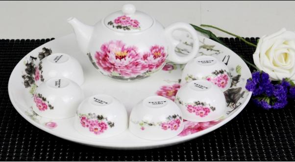 8头国色天香骨质瓷茶具