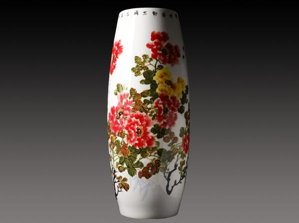 釉下彩手绘骨质瓷花瓶