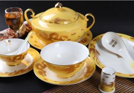 36头帝王黄龙凤呈祥骨质瓷餐具