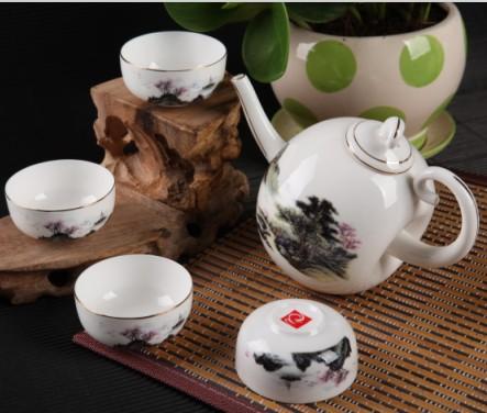 5头山水望月骨质瓷茶具