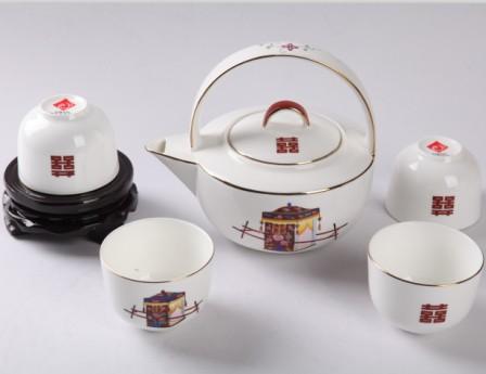 5头手绘轿子日式茶具