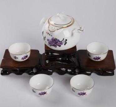 5头玉液香双耳骨质瓷茶具