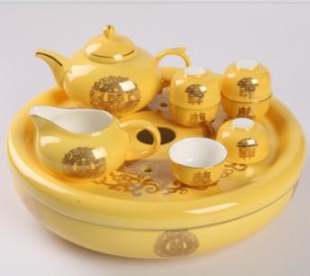 9头帝王黄双喜骨质瓷圆茶海