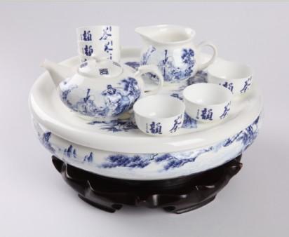 9头福禄寿骨质瓷圆茶海