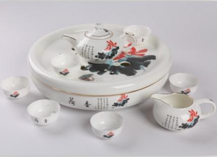 9头荷香骨质瓷圆茶海