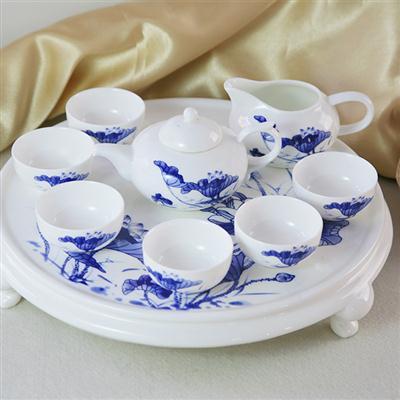 9头骨质瓷荷塘月色茶具