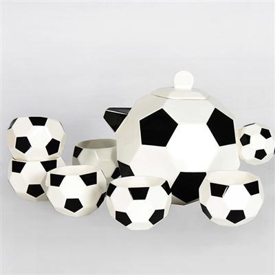 7头足球骨质瓷茶具