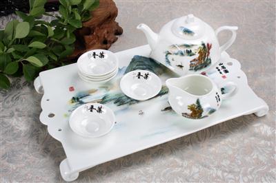 9头方形骨质瓷茶具 山居图