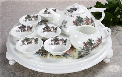 9头骨质瓷茶具 锦绣山河