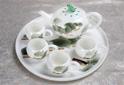 6头骨质瓷茶具 青趣