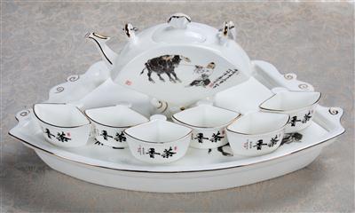 8头扇形骨质瓷茶具 香茶