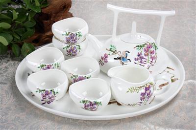9头骨质瓷茶具 紫气东来