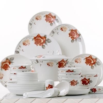 48头幸福之约骨质瓷餐具套装,礼品logo定制