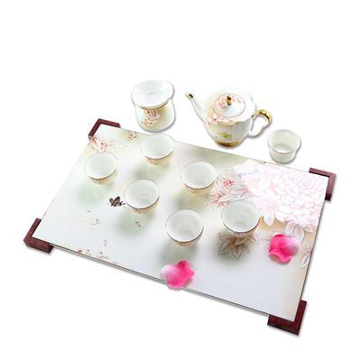 手绘花开富贵骨质瓷茶具
