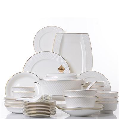 46头浮雕骨瓷餐具套装,骨瓷礼品定制