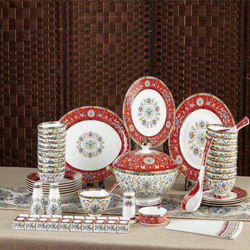 唐山陶瓷58头珐琅彩骨质瓷餐具,定制礼品陶瓷盘碗